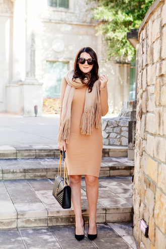 kendi everyday blogger scarf dress bag bodycon dress nude dress fall dress ysl bag high heel pumps black bag black heels