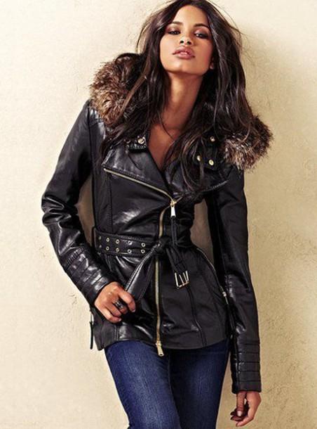 coat belted coat leather fur black leather coat fur hood