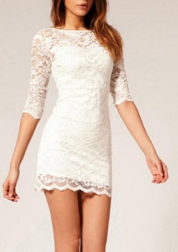 White Nice Lace Dress on Luulla