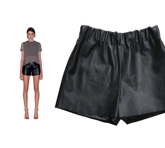 BLACK LEATHER SHORTS real leather / black shorts / by ahShmata