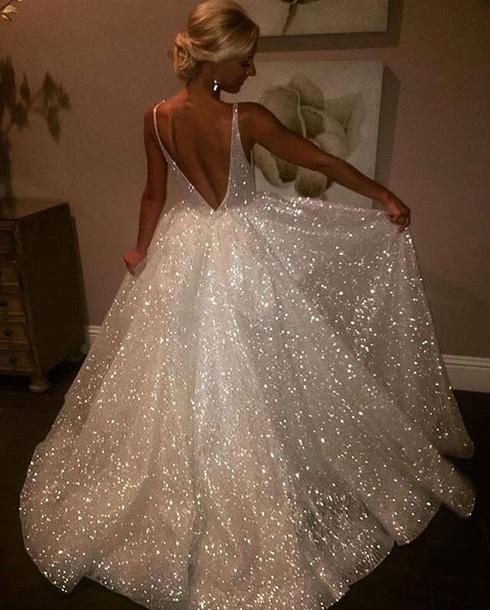 dress silver and tan glitter dress backless prom dress princess ball gown diamonds long prom dress silver sequin dress