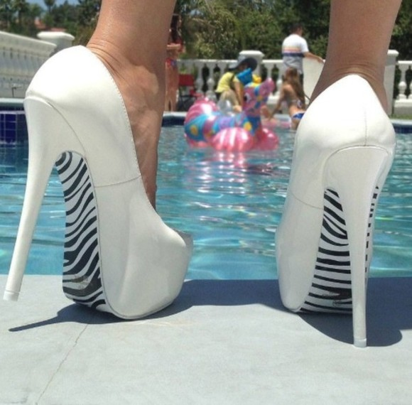 shoes high heels zebra