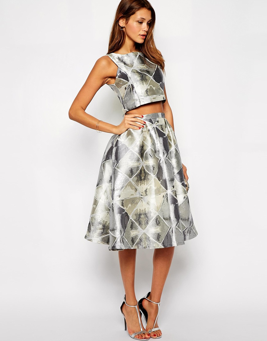 Decadence Silver Jacquard Midi Skirt at asos.com