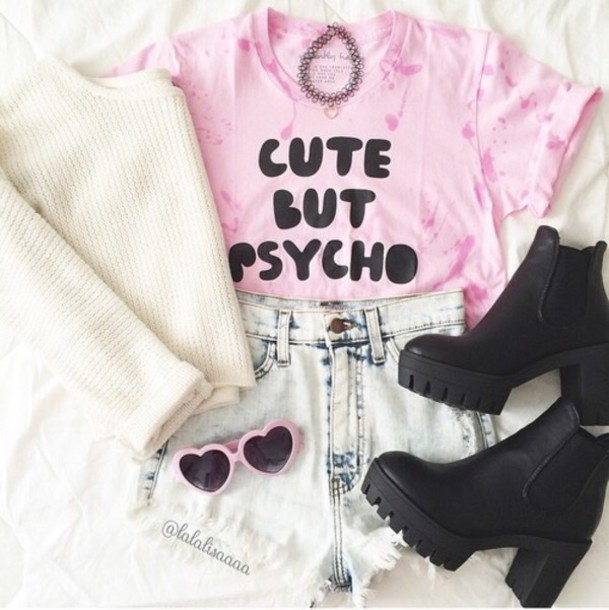 shirt t-shirt sweater shorts shoes sunglasses top t-shirt cute but psycho pink quote on it kawaii pastel grunge cute but psycho
