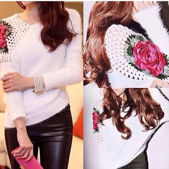 sweater crochet rose off the shoulder sweater