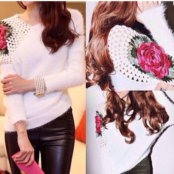 sweater off the shoulder sweater crochet rose