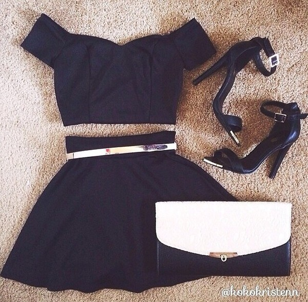side strap black crop tops black skater skirt belt skirt