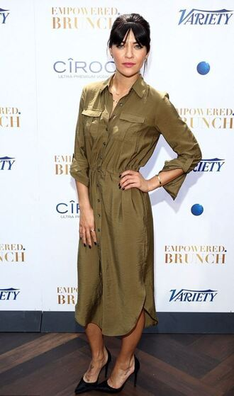 shirt dress jessica stroup pumps green dress olive green black heels