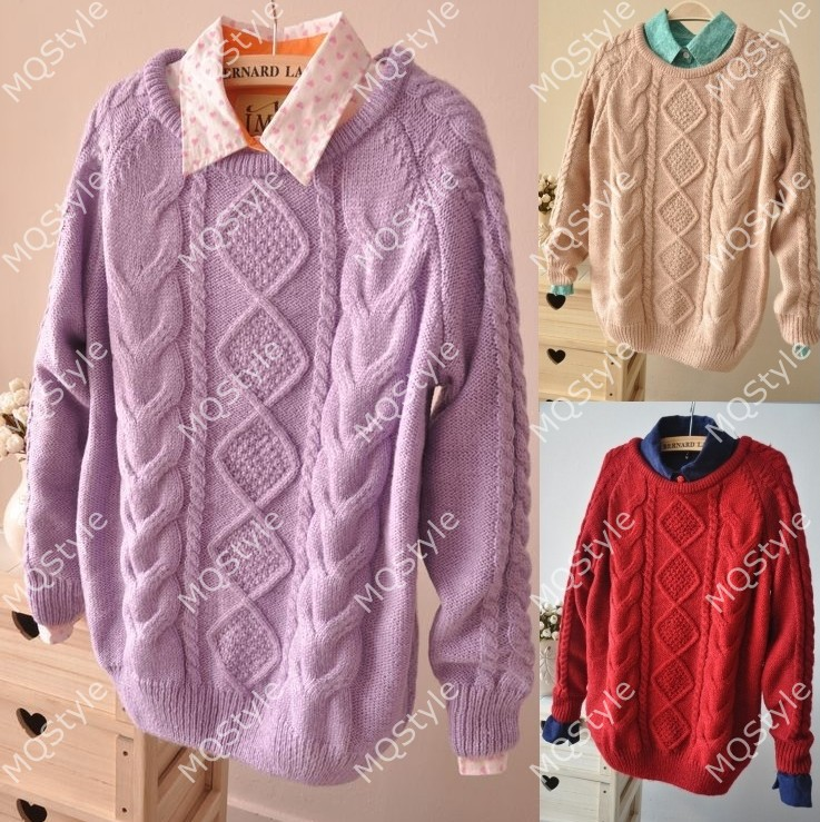New Womens Vintage Geometry Cable Knit Jumper Pullover Sweater Tops Coat E904MS | eBay