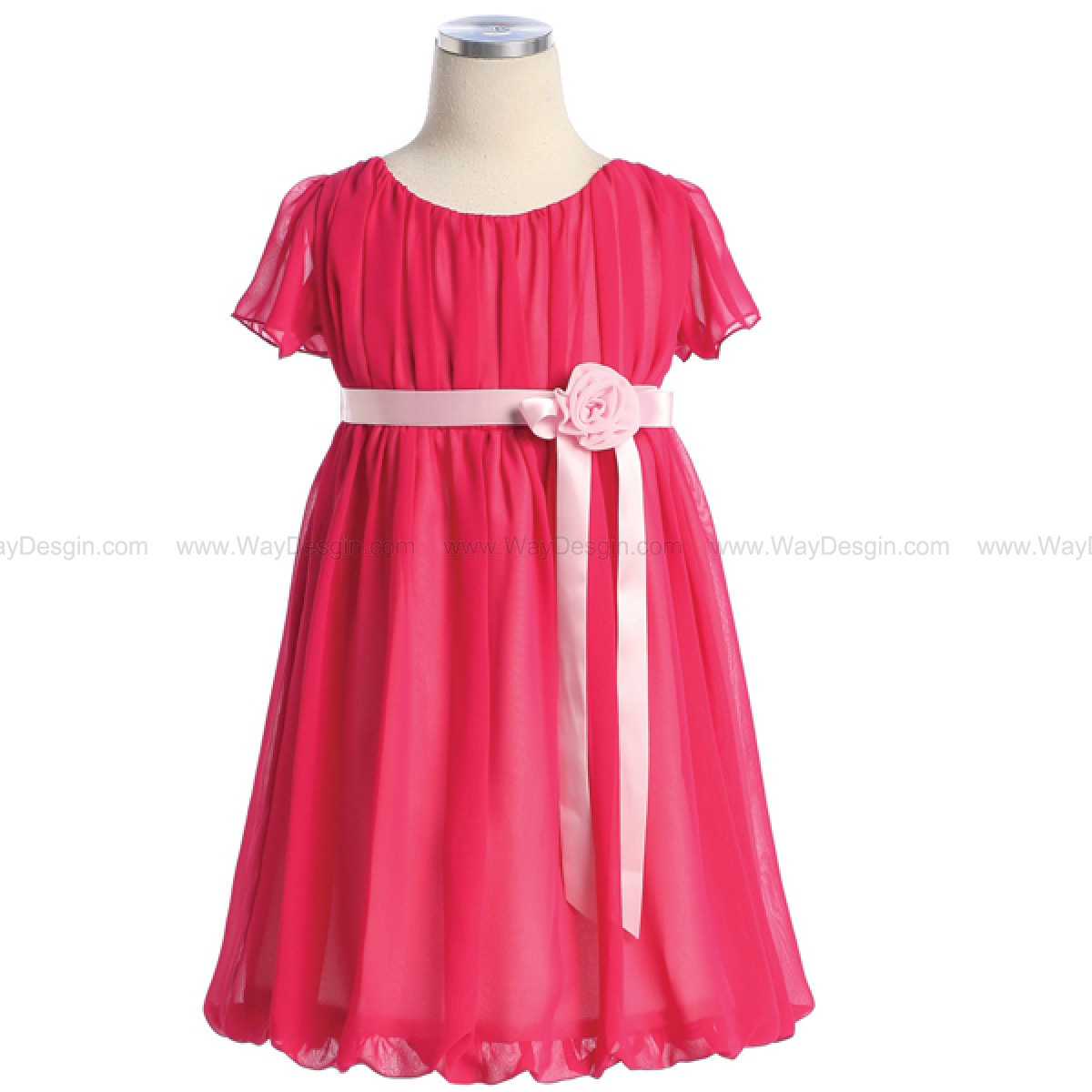 Fuchsia Short Chiffon Dress Satin Ribbon