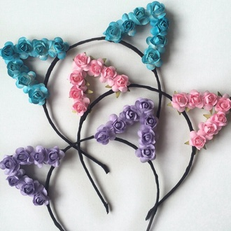 hair accessory cat ears headband flowers floral