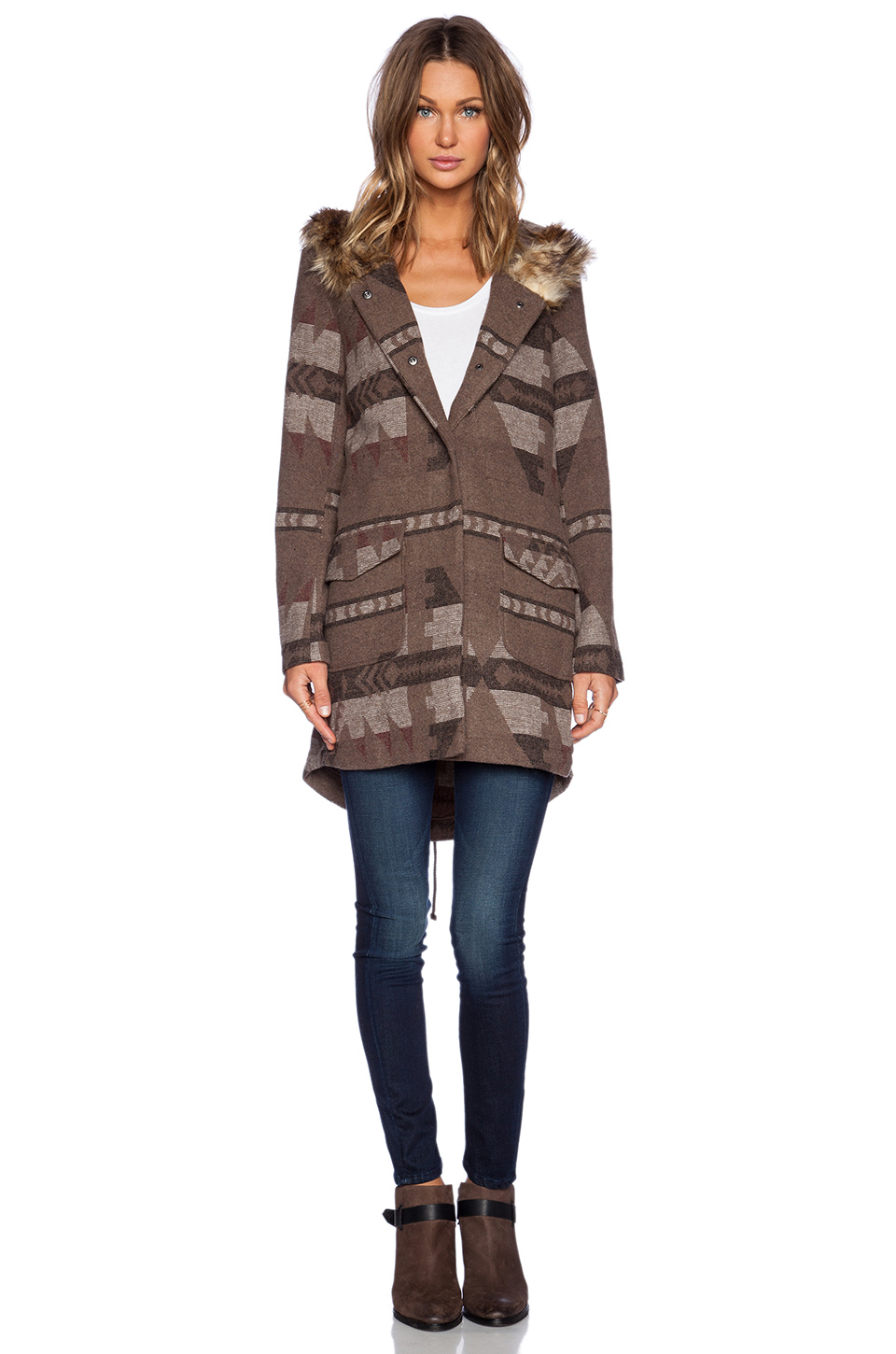 Bb dakota negeen patterned coat in tobacco from revolveclothing.com