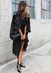 dress,tumblr,midi dress,polka dots,black dress,jacket,black jacket,leather jacket,black leather jacket,flats,black flats,bag,black bag,patterned dress,perfecto,strappy flats,date outfit,wavy hair,brunette,blogger,pointed flats