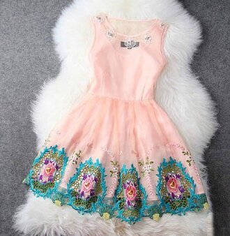 floral dress pink dress lace dress rose pink dress embroidered gorgeous