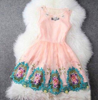 floral dress pink dress lace dress rose pink