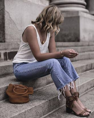 bag tumblr handbag denim jeans blue jeans cropped jeans top tank top white tank top sandals mid heel sandals