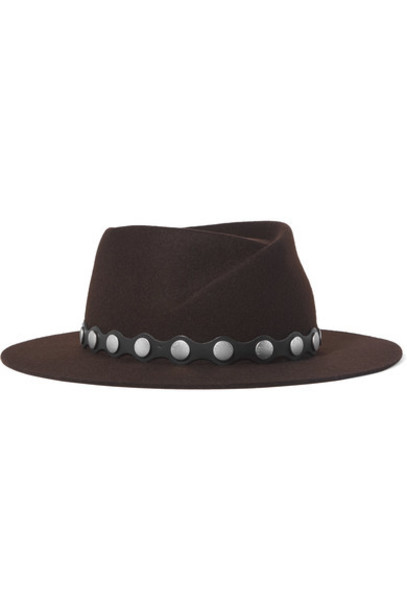 studded fedora leather wool brown hat