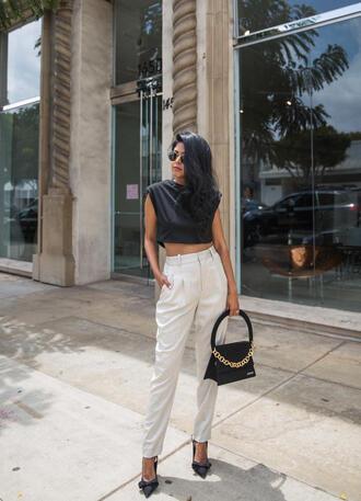 pants tumblr white pants top crop tops black top bag black bag pumps pointed toe pumps slingbacks