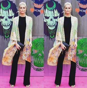 pants cape scarf poppy delevingne model off-duty instagram top sandals clutch