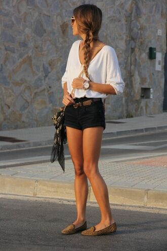 shirt white half sleeves leopard slip ons shoes cheetah print cheetah flats white t-shirt black shorts blouse