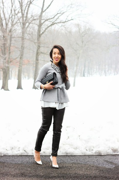 refined couture blogger pants grey sweater black pants