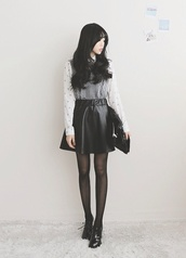 skirt,leather skirt,leather skirt black,leather,skirt and boots,boots,tights,layered shirt,layers,vest,long sleeves,ulzzang,cute,fashion,korean fashion,underwear,sweater,blouse,shoes