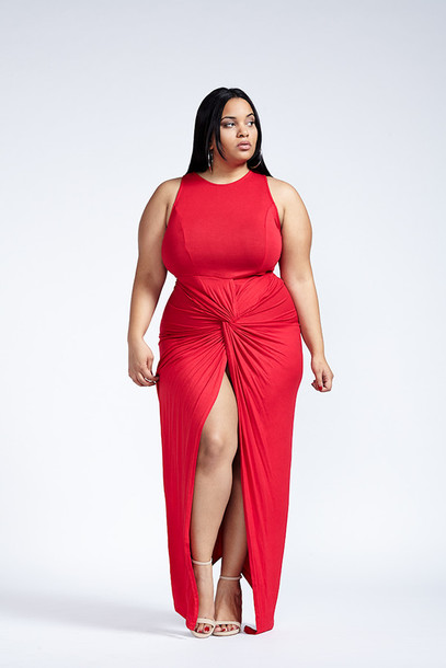 Red dresses in plus size