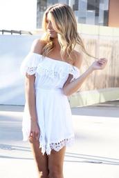 dress,white,lace,off the shoulder,light,summer