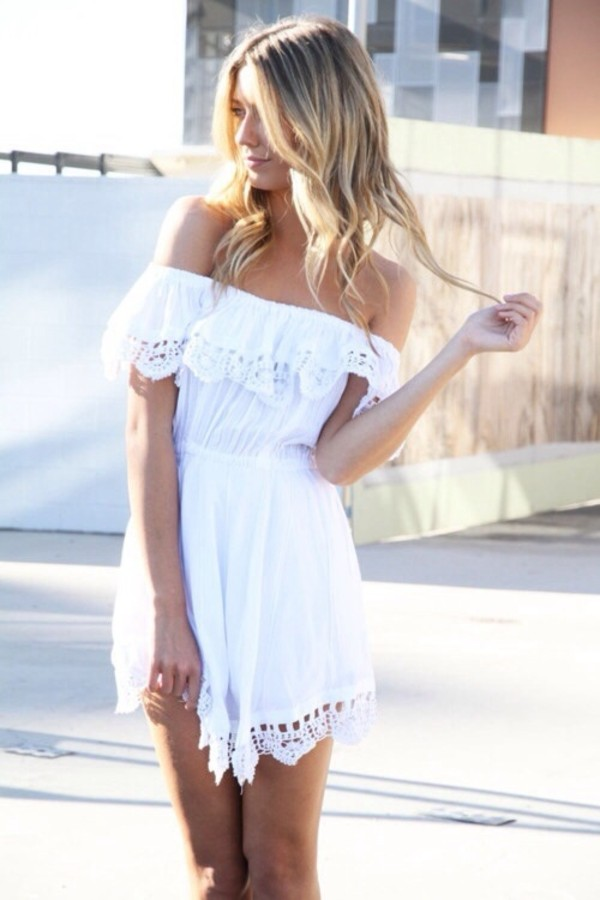 dress white lace off the shoulder light summer
