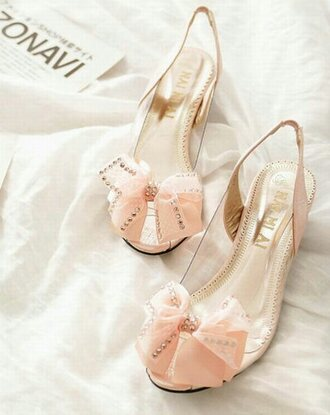shoes cute pink kitten heels bows heels with bows bejeweled stunning princess baby pink high heels cute high heels