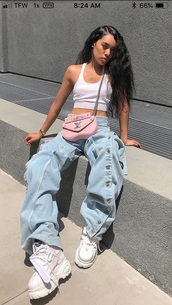 jeans,light blue,baggy pants,bag,pink bag,blue jeans