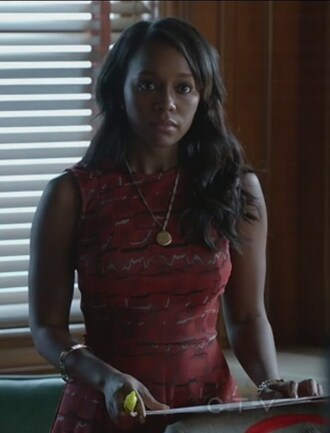 dress how to get away with murder aja naomi king michaela pratt red fit and flare geometric print