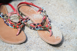 shoes red shoes flat sandals sandals pearl summer sandals