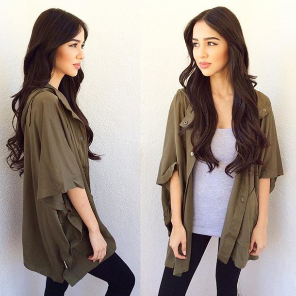 Jacket: belle xo, coat, cardigan, olive green, green, short sleeve ...