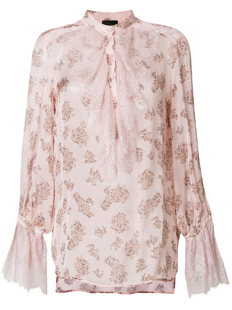 Ermanno Ermanno blouse women floral print silk purple pink top