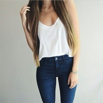 tank top jeans top blouse t-shirt tees long hair spring white singlet white tank top navy denim outfit white white t-shirt loose fitted white shirt white top white blouse pants casual shirt blue jeans