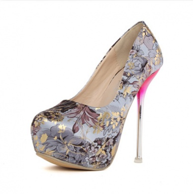 New style fashion pattern printing decoration pretty pumps YS-C4439-Lovelyshoes.net