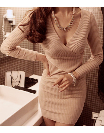 Knitted wool bodycon dress long sleeve winter crochet casual black