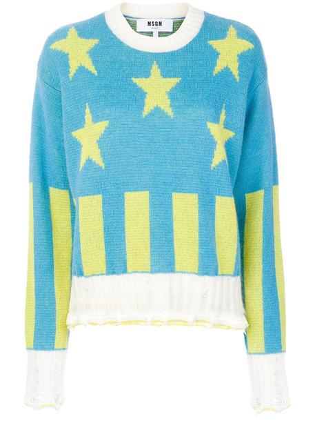 MSGM jumper women mohair stripes blue knit stars sweater