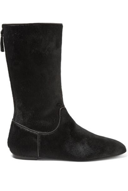 The Row - Bill Calf Hair Boots - Black