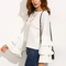 White round neck ruffle long sleeve blouse -shein(sheinside)