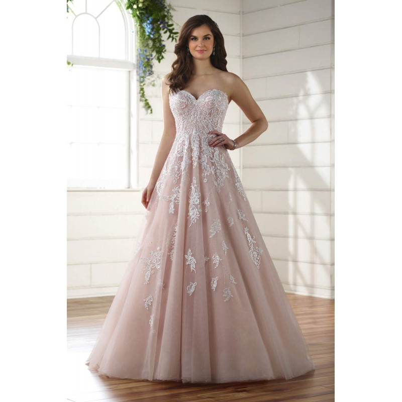Plus-Size Dresses Style D2218 by Essense of Australia - Ivory White Blush  Pink Lace Organza Tulle Floor Wedding Dresses - Bridesmaid Dress Online Shop