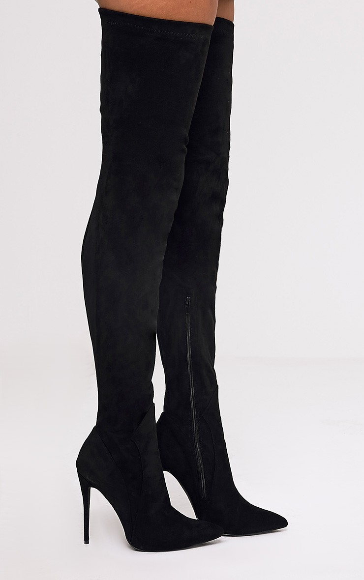 Emmi Black Faux Suede Extreme Thigh High Heeled Boots Pretty Little Thing oM3Xd6Tej