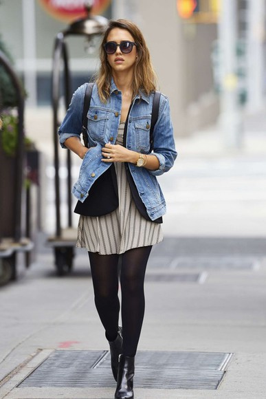 jacket jessica alba dress fall outfits