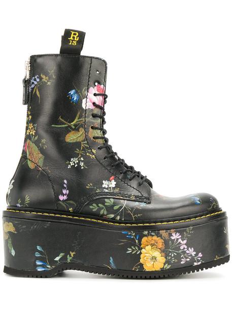 R13 women leather print black shoes