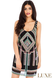 dress,aztec,beaded,embellished,shift,mini,evening outfits,amazing,luxury,scoop neck,party,statement