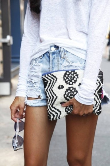 black and white bag aztec high waist sunglass summer shorts