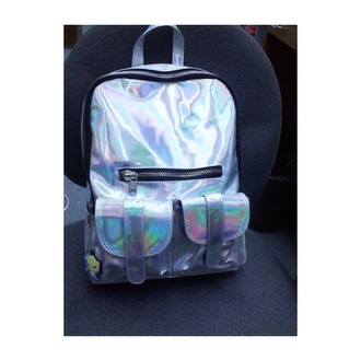 bag chrome back packs cute grunge pastel grunge bookbag metallic soft grunge