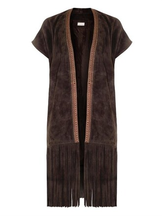 jacket suede fringe jacket embroidered suede dark brown