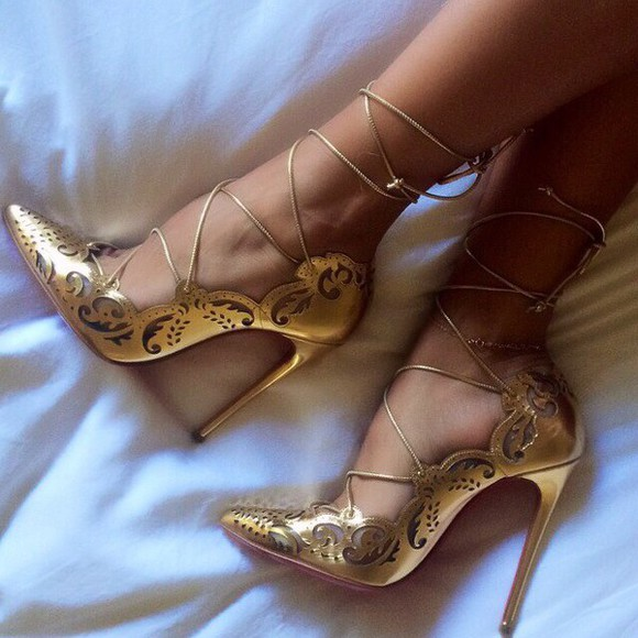 straps gold shoes shoes high heels gold louboutin louboutins red sole heel pointy kim